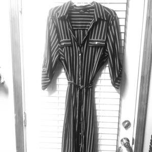 Black and White striped Button down shirt dress!